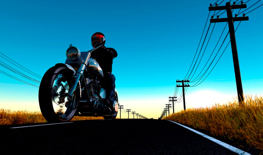 Biker enjoying a motorcycle ride on a wide open road