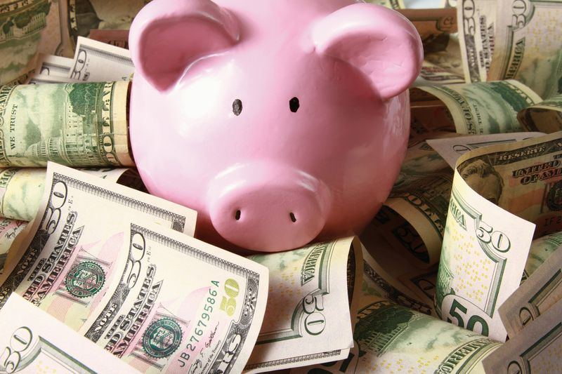 Piggy Bank in Money