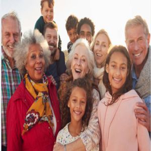 Mulitcultural and generational group of people
